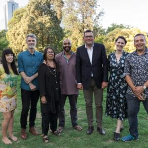 Six writers stand with the Victorian Premier