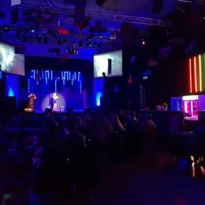 Photo of a colourfully lit room