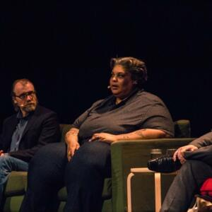 Photo of George Saunders, Roxane Gay and Michael Williams