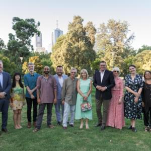 Photograph of Susan Oliver, Martin Foley, Chloe Higgins, Rhett Davis, S.Shakthidharan, Michael Williams, Tony and Maureen Wheeler, Daniel and Catherine Andrews, Helena Fox, Charmaine Papertalk Green and Christos Tsiolkas