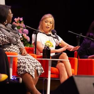 Photograph of Tressie McMillan Cottom, Jia Tolentino and Aminatou Sow on stage at Melbourne Town Hall