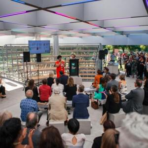 Photo of a group of people assembled in MPavilion 2018