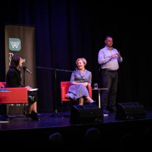 Wide photograph of Virginia Trioli, Gillian Triggs and the Auslan interpreter